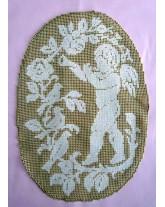 tapíz-tapete angelito. labrando la tela: deshilados