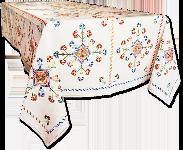 Mantel típico de Lagartera bordado a mano, 100% artesanal. Artesanía Rocío Lozano